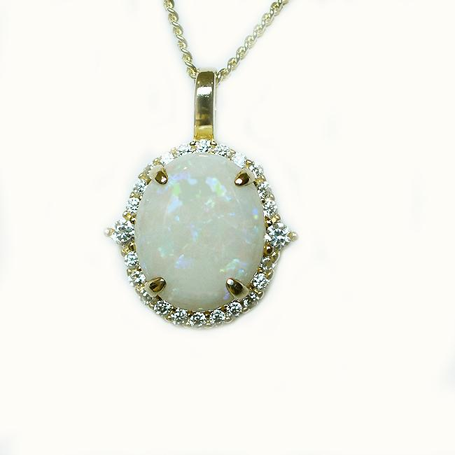 Solid Light Opal Sterling Silver Necklace 18K GP OP0101SG (12×10)