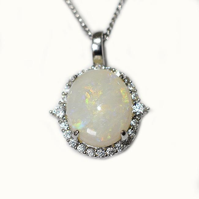 Solid Light Opal Sterling Silver Necklace OP0101SR (12×10)