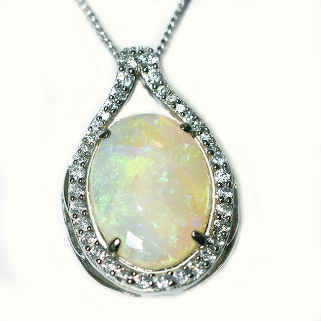Solid Light Opal Sterling Silver Necklace OP0123SR (18x13)
