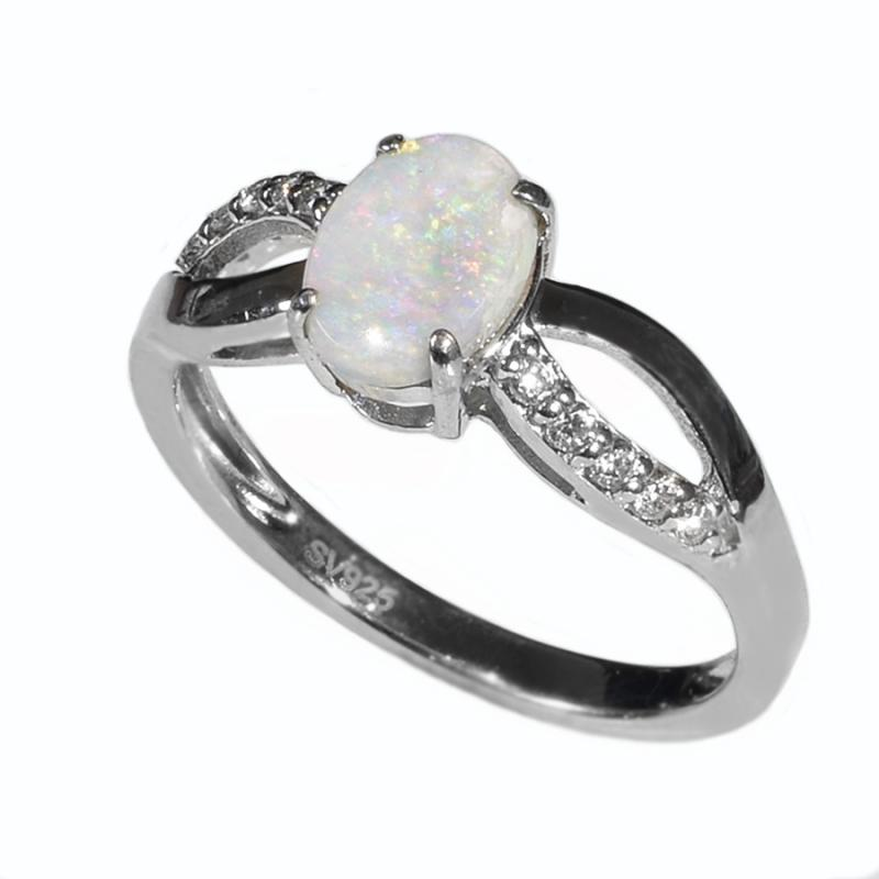 STERLING SILVER Solid Light OPAL RING OR0006SR (SIZE 0/7)