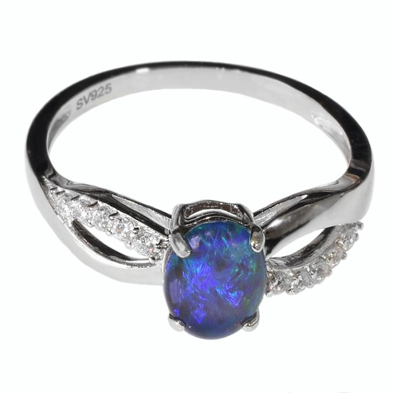 STERLING SILVER Black Triplet OPAL RING OR0006TR1 (SIZE Q/8)
