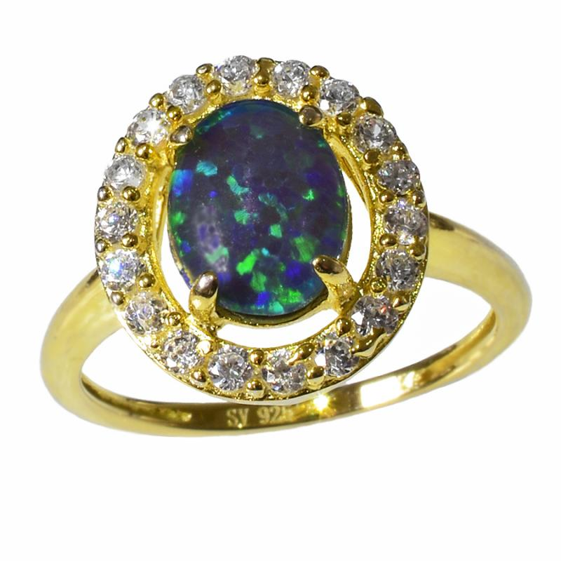 STERLING SILVER Black Triplet OPAL RING OR0007TG1 (SIZE M/6) 18k Gold GP