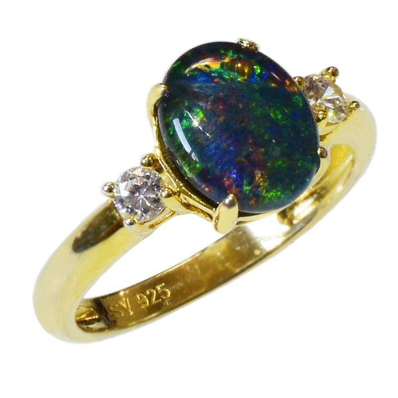Black Triplet Sterling Silver OPAL RING OR0010TG1 (SIZE P/7.5) 18k Gold GP