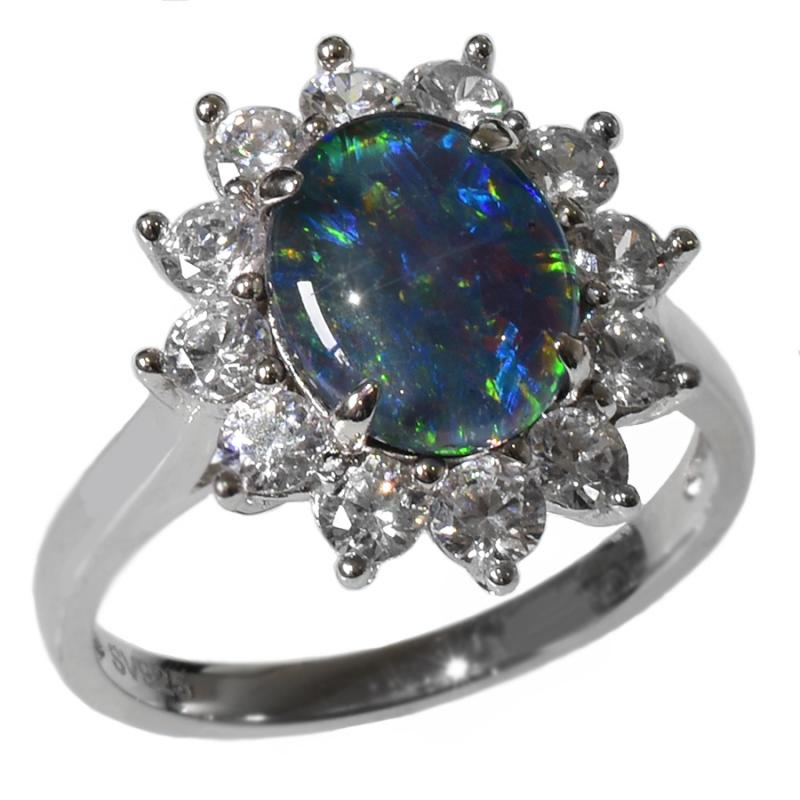 STERLING SILVER Black Triplet OPAL RING OR0013TR1 (SIZE O/7)