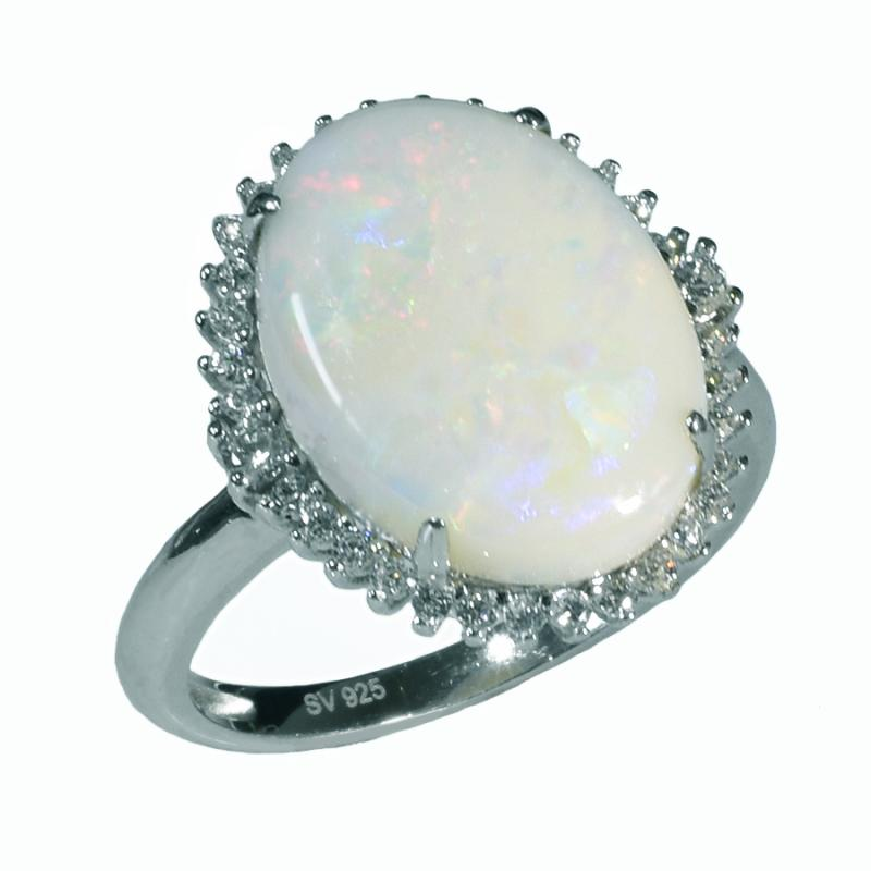 Large Sterling Silver Solid OPAL RING OR0016SR (SIZE Q/8)
