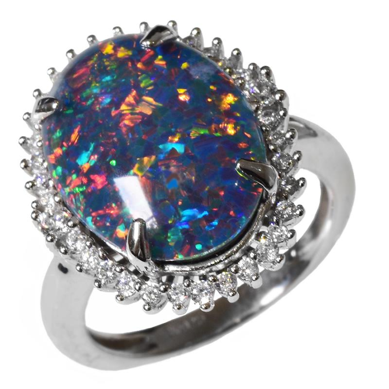 Large Sterling Silver Black Triplet OPAL RING OR0016TR1 (SIZE N/6.5)