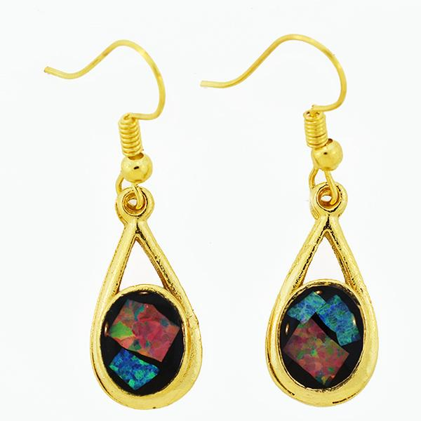 Opal Slice Earrings Yellow Gold Plated OSE-DropHooks(10x8cup)G