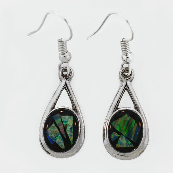 Opal Slice Earrings Silver Plated OSE-DropHooks(10x8cup)R