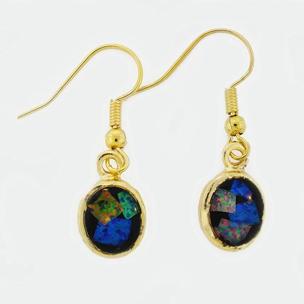 Opal Slice Earrings Yellow Gold Plated OSE-Hooks(9x7)G