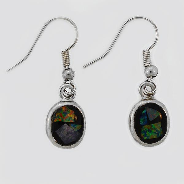 Opal Slice Earrings Silver Plated OSE-Hooks(9x7)R