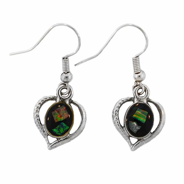 Opal Slice Earrings Silver Plated OSE-HooksHeart(8x6)R