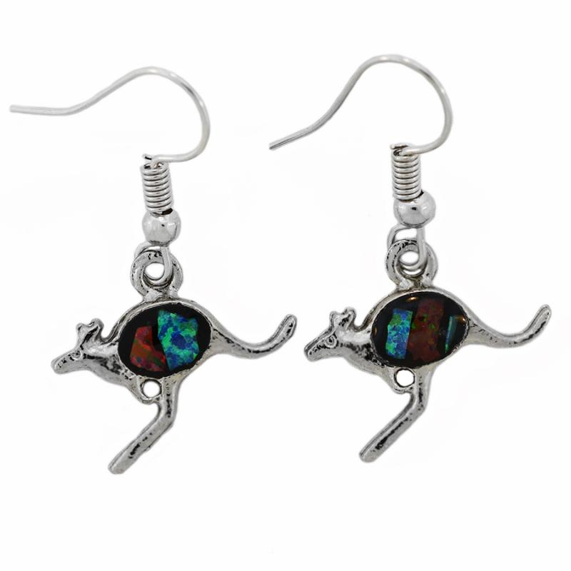 Opal Slice Earrings Silver Plated OSE-HooksKangarooR