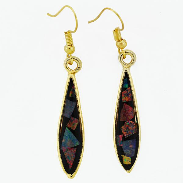 Opal Slice Earrings Yellow Gold Plated OSE-HooksLargeDropG