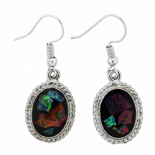 Opal Slice Earrings Silver Plated OSE-HooksRope(14x10cup))R