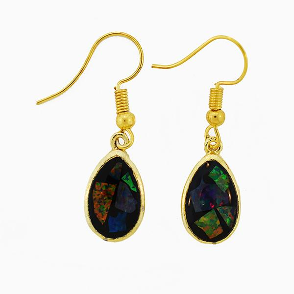 Opal Slice Earrings Yellow Gold Plated OSE-HooksTearDropG