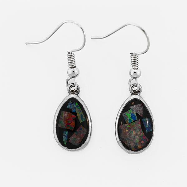 Opal Slice Earrings Silver Plated OSE-HooksTearDropR