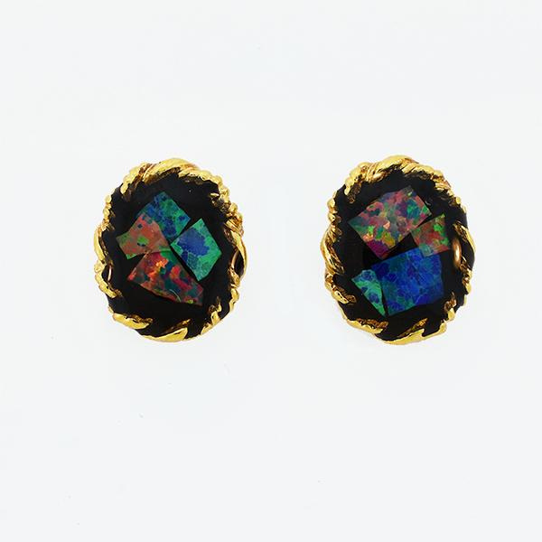 Opal Slice Earrings Yellow Gold Plated OSE-RopeStud(8x6)G