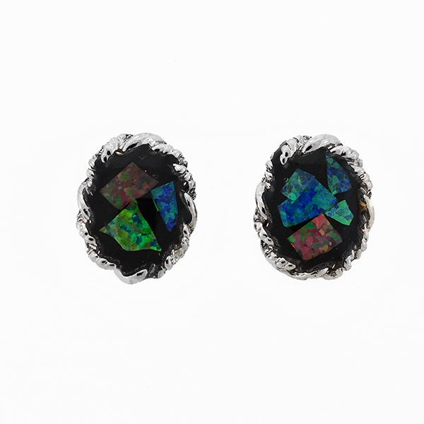 Opal Slice Earrings Silver Plated OSE-Rope(8x6)R