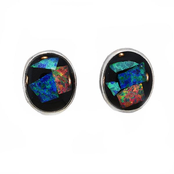 Opal Slice Earrings Silver Plated OSE-Stud(10x8)R