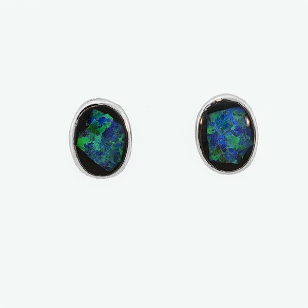 Opal Slice Earrings Silver Plated OSE-Stud(7x5)R