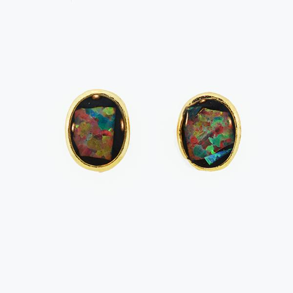 Opal Slice Earrings Yellow Gold Plated OSE-Stud(8x6)G