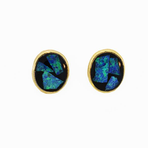 Opal Slice Earrings Yellow Gold Plated OSE-Stud(9x7)G
