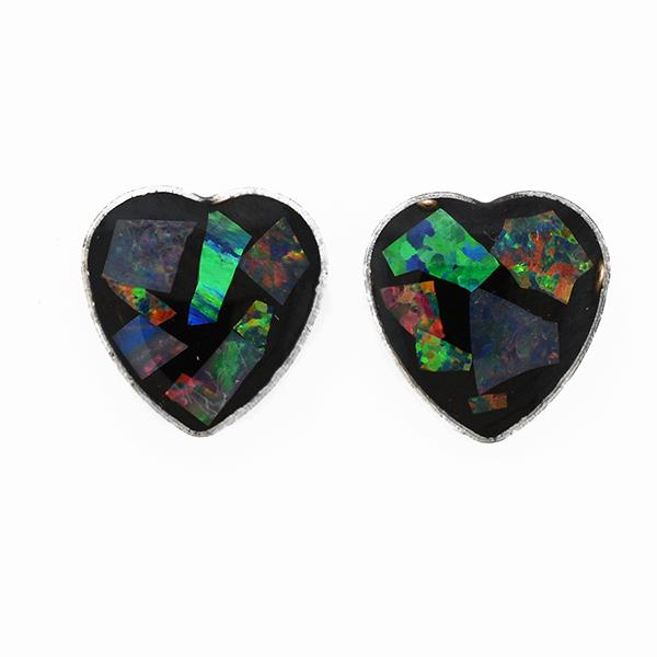 Opal Slice Earrings Silver Plated OSE-Stud Heart R