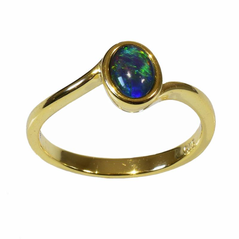 Sterling Silver Black Triplet Opal Ring R115-TG 18k GP (Size R or 9)